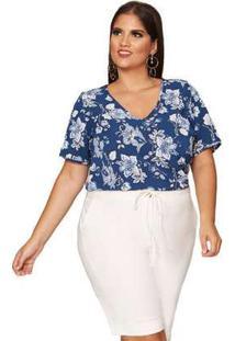 Blusa Almaria Plus Size Pianeta Estampado Marinho Azul