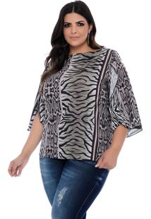 Blusa Plus Size Art Final Estampada Sara
