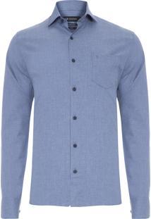 Camisa Masculina Lisa Melange - Azul