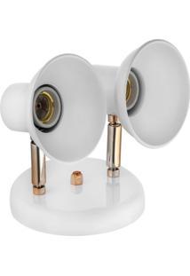 Spot Dallas Branco/Cobre Alumínio De 2 Lâmpadas Click Injet
