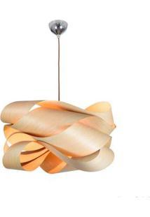 Pendente De Madeira Wood Para 1 Lâmpada E27 35X80Cm Marrom Bronzearte