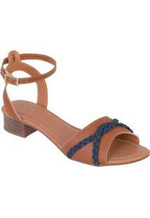 Sandália Salto Baixo Caramelo Com Detalhe Jeans
