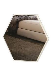 Espelho Hexagono Logus Pequeno Cor Off White Brilho 35 Cm (Larg) - 56527 Sun House
