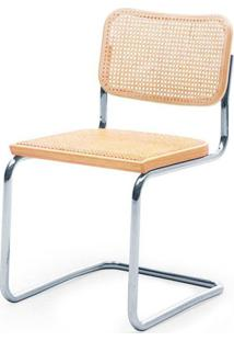 Cadeira Cesca Palha Natural Madeira Clara Cromada - 59417 - Sun House