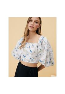 Amaro Feminino Blusa Estampada Decote Quadrado Costas, Cleanse Mocha Off White