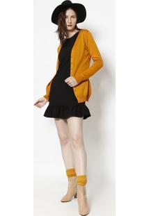 Cardig㣠Liso Em Tric㴠- Amarelo Escuroponto Aguiar