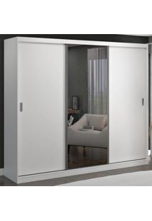 Guarda-Roupa Casal 3 Portas De Correr Com 1 Espelho 100% Mdf 7318G4E1 Branco - Foscarini