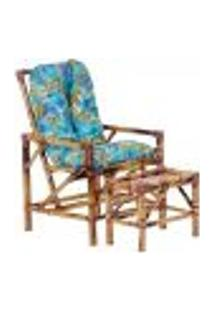 Conjunto Mesa E Cadeira De Bambu Cancun Para Área Edicula Jardim G35