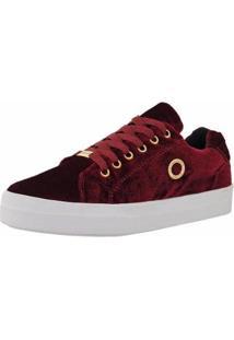 Tênis Emanuelly Shoes Veludo Feminino - Feminino-Vermelho