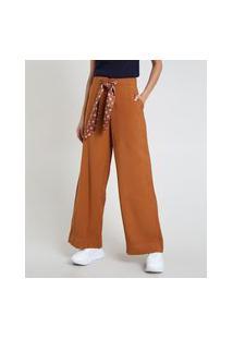 Calça Feminina Pantalona Cintura Alta Com Bolsos E Faixa Para Amarrar Acetinada Caramelo