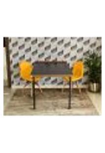 Conjunto De Mesa 1,40 Preto/Noronha + 2 Cadeiras Botonê - Amarela