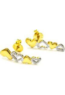 Brinco Coração De Ouro - Unissex-Dourado