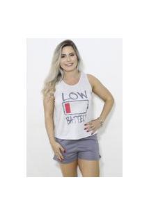 Baby Doll Pijama Em Malha Pv De Alta Qualidade Com Silk - Branco E Cinza- Psil Lingerie