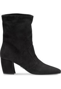 Prada Pointed Toe Ankle Booties - Preto