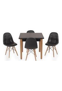Conjunto Mesa De Jantar Luiza 80Cm Preta Com 4 Cadeiras Botonê - Preto