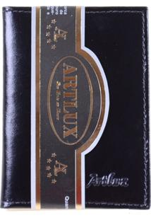 Carteira Compacta Masculina De Couro - Masculino-Preto