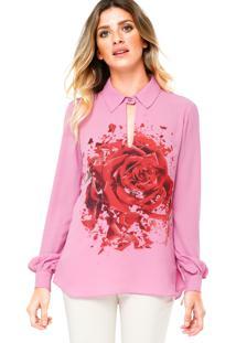 Camisa Manga Longa Carmim Print Flowe Rosa