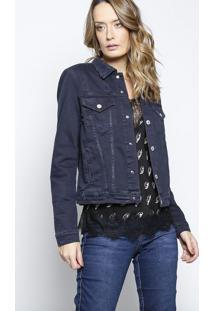 Jaqueta Amanda Jeans Com Puídos - Azul Escurole Lis Blanc