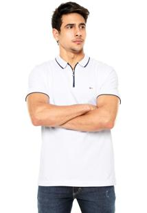 Camisa Polo Aramis Regular Fit Zíper Branca