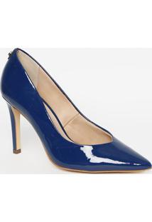 Scarpin Em Couro Com Tag- Azul Marinho- Salto: 9,5Cmjorge Bischoff