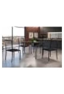 Conjunto De Mesa De Jantar Grécia Com Tampo Mocaccino E 4 Cadeiras Atos Couríssimo Preto