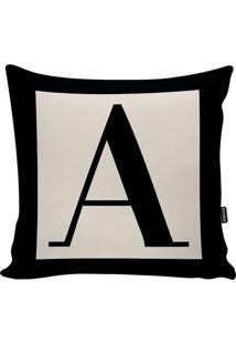 Capa Para Almofada Letter- Preta & Off White- 45X45Cstm Home