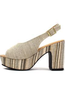 Sandália Salto Alto Damannu Shoes Kiara Lona Crua Bege