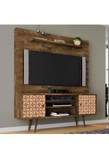 Estante Para Tv 2 Portas Tivoli Madeira Rústica/Madeira 3D - Móveis Bechara
