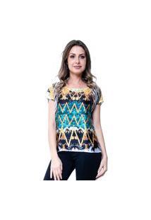 Blusa Estampada 101 Resort Wear Basica Étnico Laranja