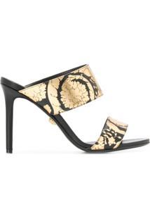 Versace Sandália Com Estampa Golden Hibiscus - Preto