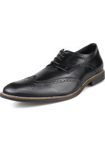 Sapato Social Oxford Brogue Amarração Preto Perlatto