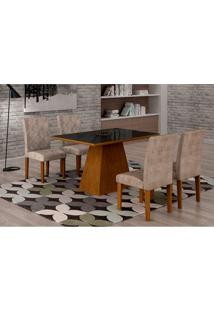 Conjunto De Mesa De Jantar Luna Com Vidro E 4 Cadeiras Ane I Suede Animalle Imbuia E Preto