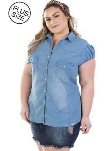 2aee5043be ... Camisa Plus Size - Confidencial Extra Jeans Vinil Com Elastano
