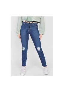 Calça Jeans Dzarm Skinny Destroyed Azul