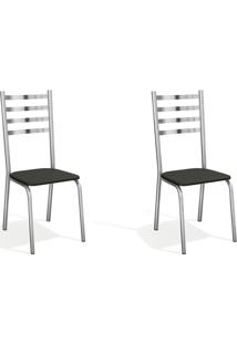 Conjunto Com 2 Cadeiras De Cozinha Alemanha Cromado E Preto