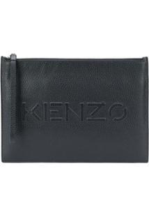 Kenzo Clutch Com Logo Gravado - Preto