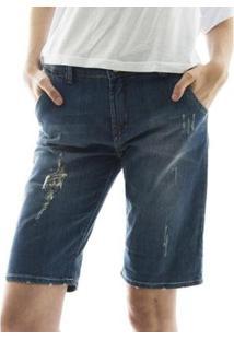 Bermuda Jeans Aha Com Barra Dobrada Destroyed Feminino - Feminino