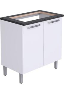Balcão De Cozinha Cacau Para Cooktop 2 Pt Branco