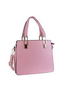Bolsa Grande Feminina Estruturada Alça Transversal Elegante Rosa