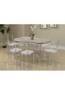 Mesa 1507 Nogueira Cromada Com 6 Cadeiras 1700 Fantasia Branco Carraro