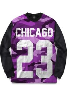 Blusa Bsc Chicago 23 Purple Camo Full Print - Masculino