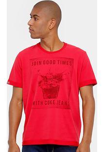 Camiseta Coca-Cola Cheirinho Ice Masculina - Masculino-Vermelho