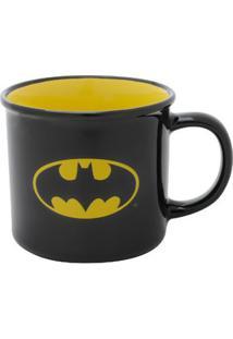 Caneca Porcelana Batman Logo Preto Amarelo 380 Ml