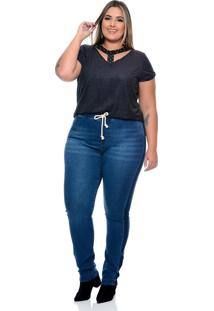 Calça Plus Size Moleton Jeans - Kanui