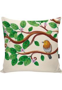Capa De Almofada Birds- Bege & Verde- 42X42Cm- Sstm Home