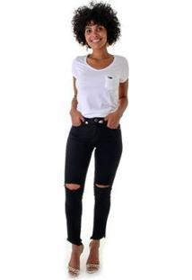 Calça Jeans Opera Rock Leg Maxi Feminina - Feminino-Preto