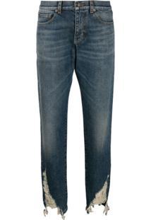 Saint Laurent Calça Jeans Boyfriend Com Efeito Puído - Azul