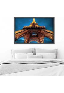 Quadro Love Decor Com Moldura Torre Eiffel La Nuit Grafitti Metalizado Médio