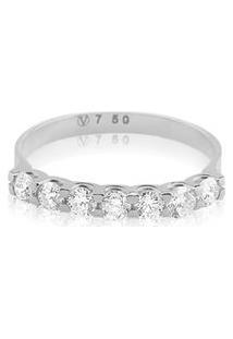 Meia Aliança Ouro Branco Com 56 Pontos De Diamantes