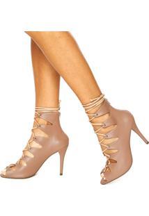 Ankle Boot Dafiti Shoes Amarração Nude